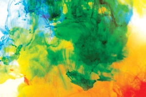 Book cover design for Immediation over swirling colours of green, orange, yellow and red